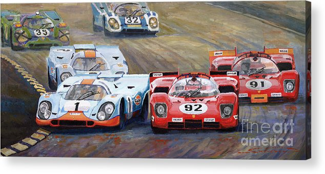 Acrilic On Canvas Acrylic Print featuring the painting Ferrari vs Porsche 1970 Watkins Glen 6 Hours by Yuriy Shevchuk