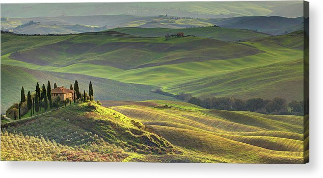 Scenics Acrylic Print featuring the photograph First Light In Tuscany by Maurice Ford
