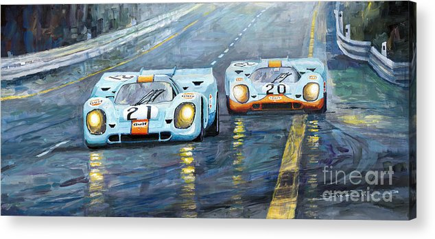 Automotive Acrylic Print featuring the painting Porsche 917 K GULF Spa Francorchamps 1971 by Yuriy Shevchuk