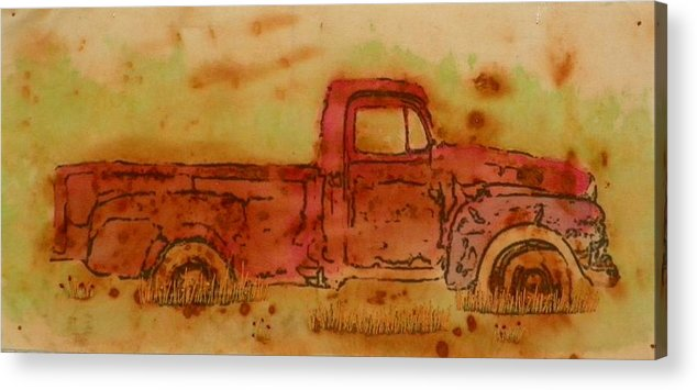 Rust Acrylic Print featuring the mixed media Rusty Truck by Jenny Williams
