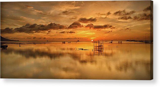 Scenics Acrylic Print featuring the photograph Sunrise, Phu Quoc, Vietnam by Huyenhoang