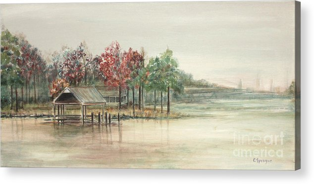 Tidewater Acrylic Print featuring the painting Winter Morning Eastern Branch by Catherine Sprague