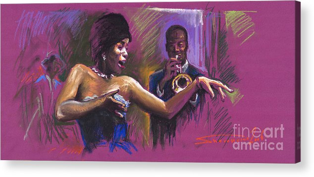Jazz Acrylic Print featuring the painting Jazz Song.2. by Yuriy Shevchuk