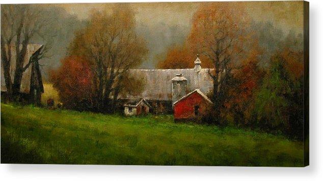 Farm Acrylic Print featuring the painting Ridgefield Farm by Jim Gola