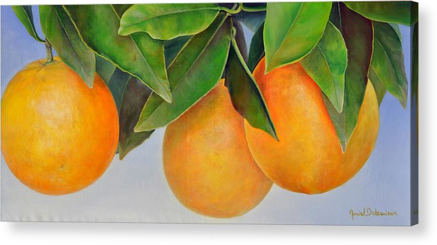 Floral Painting Acrylic Print featuring the painting Trois Oranges by Muriel Dolemieux