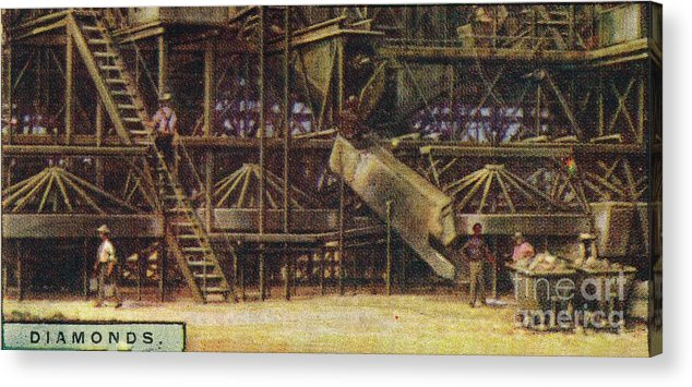 Panoramic Acrylic Print featuring the drawing Diamonds Washing Plant by Print Collector