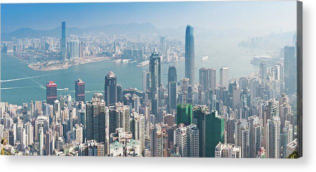 New Territories Acrylic Print featuring the photograph Hong Kong Iconic Skyscraper City by Fotovoyager