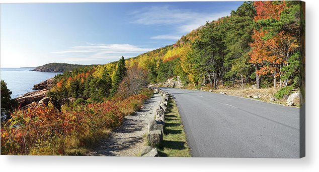 Scenics Acrylic Print featuring the photograph Ocean Drive Road Panorama, Acadia by Picturelake