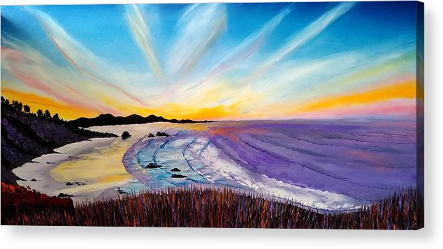 Acrylic Print featuring the painting Cannon Beach At Sunset #25 by Dunbar's Local Art Boutique