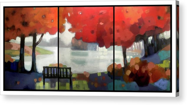 Landscape Acrylic Print featuring the painting Peaceful Fall by Farhan Abouassali
