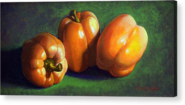 Yellow Peppers Acrylic Print featuring the painting Yellow Peppers by Frank Wilson