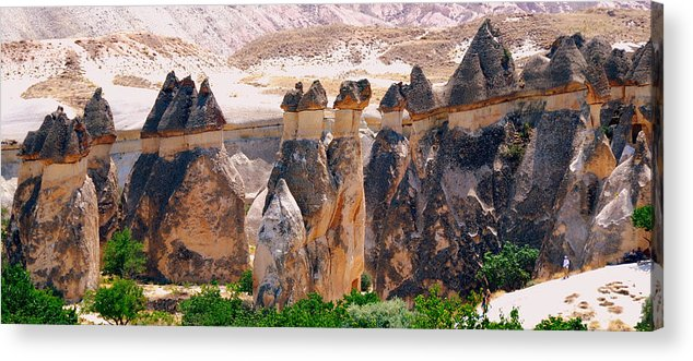 Landscape Acrylic Print featuring the photograph Fairy Chimney Panorama by Apurva Madia