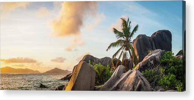 Tropical Rainforest Acrylic Print featuring the photograph Idyllic Tropical Island Sunset Over by Fotovoyager