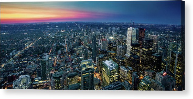 Downtown District Acrylic Print featuring the photograph Toronto Downtown City At Night by D3sign