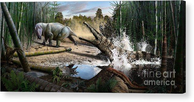 Dinosaur Acrylic Print featuring the digital art Triassic mural 1 by Julius Csotonyi