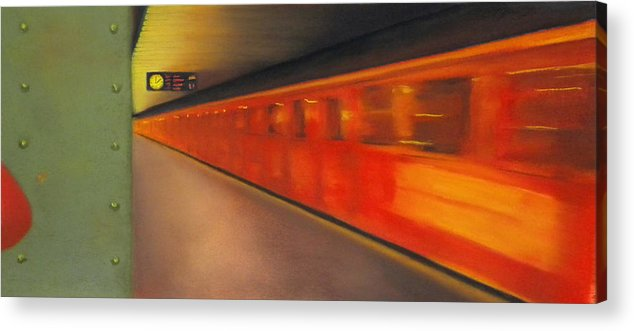 Subway Acrylic Print featuring the pastel Berlin Subway by Carrie Diaz