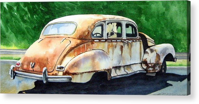Hudson Car Rust Restore Acrylic Print featuring the painting Hudson Waiting For a New Start by Ron Morrison