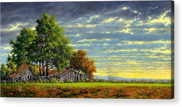 Landscape Acrylic Print featuring the painting Dusk by Jim Gola