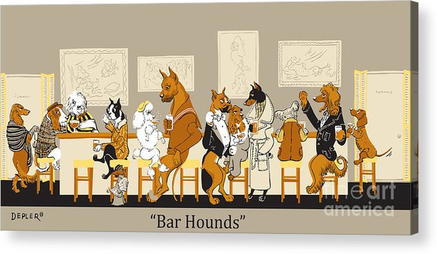 barhounds Acrylic Print featuring the mixed media Bar Hounds by Constance Depler