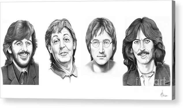 Pencil Acrylic Print featuring the drawing Beatles by Murphy Elliott