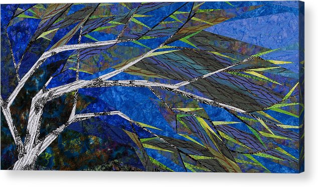 Tree Acrylic Print featuring the tapestry - textile Bending Not Breaking by Linda Beach