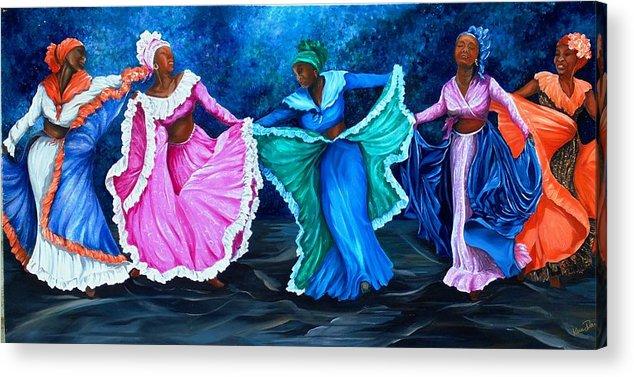 Caribbean Dance Acrylic Print featuring the painting Caribbean Folk Dancers by Karin Dawn Kelshall- Best