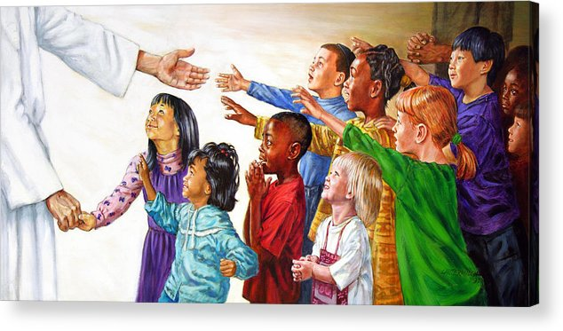 Jesus Acrylic Print featuring the painting Children Coming to Jesus by John Lautermilch