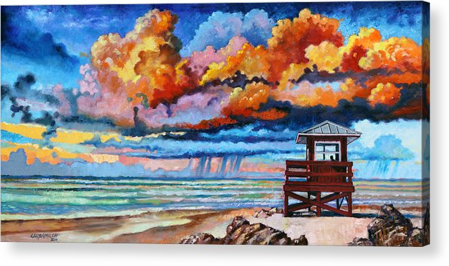 Ocean Acrylic Print featuring the painting Dreaming of Siesta Key by John Lautermilch