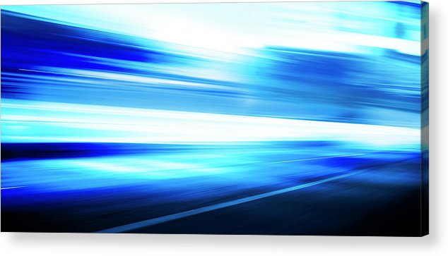 Empty Acrylic Print featuring the digital art Motion Blue Road by Aaron Foster