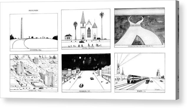 78554 Sst Saul Steinberg (cartoon Spread Acrylic Print featuring the drawing New Yorker January 16th, 1978 by Saul Steinberg