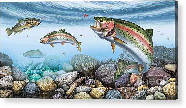Jon Q Wright Acrylic Print featuring the painting Trout Stream by JQ Licensing