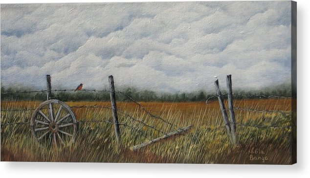 Landscape Acrylic Print featuring the painting First Sign of Spring by Sheila Banga