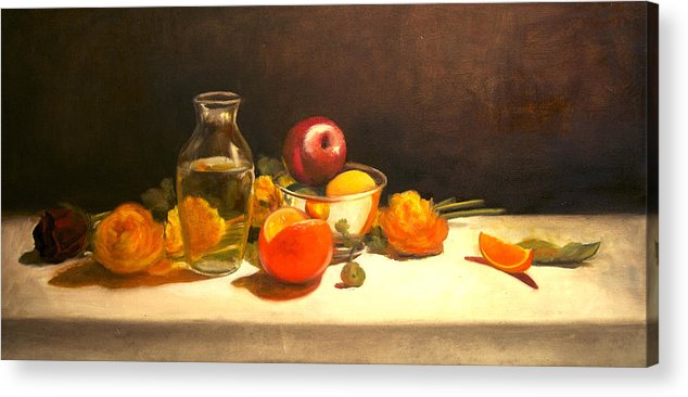 Orange Acrylic Print featuring the painting Silver and Glass by Jayne Howard