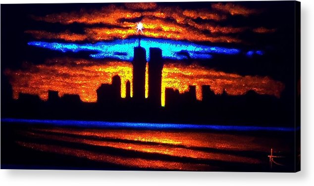 Twin Towers Acrylic Print featuring the painting Twin Towers In Black Light by Thomas Kolendra