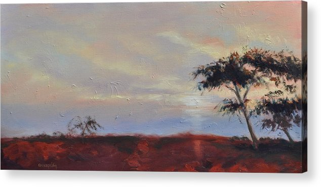 Acacia Trees Acrylic Print featuring the painting Acacias at Sunset by Ginger Concepcion