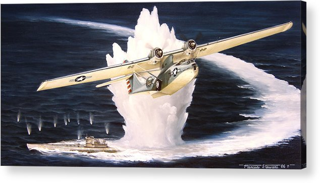 Military Acrylic Print featuring the painting Caught on the Surface by Marc Stewart