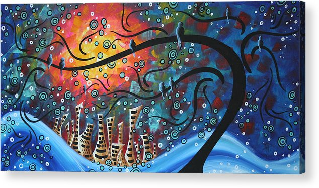 Art Acrylic Print featuring the painting City By The Sea By Madart by Megan Duncanson
