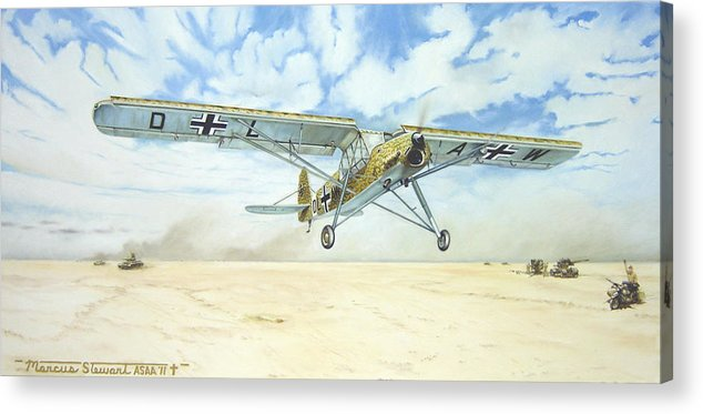 Wwii Acrylic Print featuring the painting Desert Storch by Marc Stewart