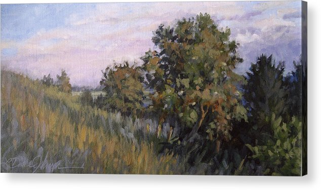 Tree Hillside Landscape Acrylic Print featuring the painting Dew On Dusk - Giverny France by L Diane Johnson
