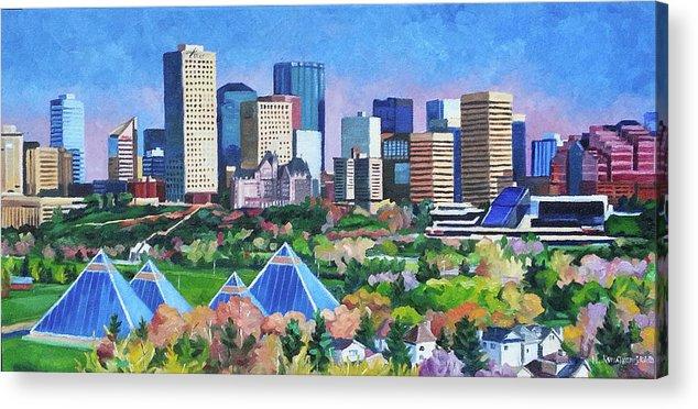 Edmonton Acrylic Print featuring the painting Edmonton Pyramids in Summer by Nel Kwiatkowska