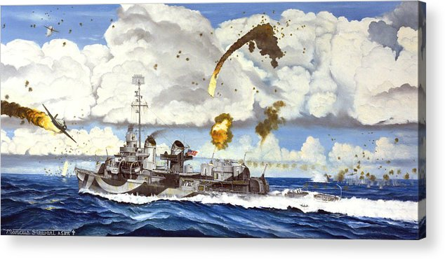 Ship Acrylic Print featuring the painting Kamikazes Over The Evans by Marc Stewart