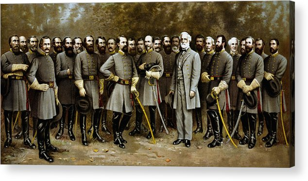 Confederate Acrylic Print featuring the painting Robert E. Lee and His Generals by War Is Hell Store