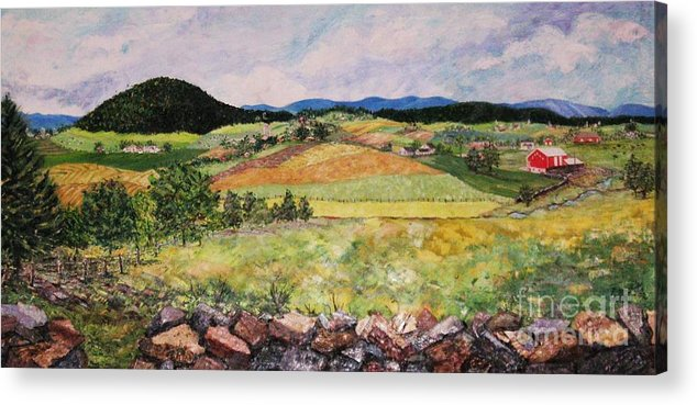 Landscape Acrylic Print featuring the painting Mole Hill in Summer by Judith Espinoza