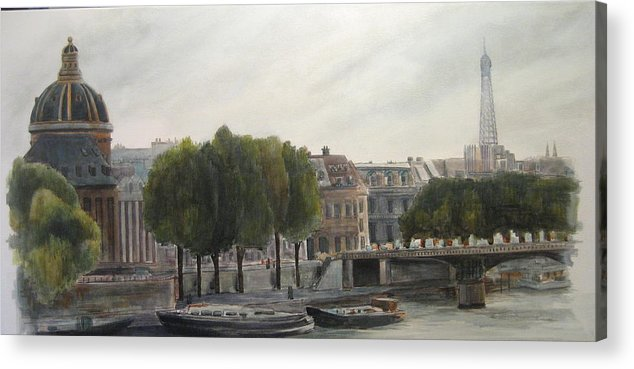 Paris Acrylic Print featuring the painting Paris Across the Seine by Victoria Heryet