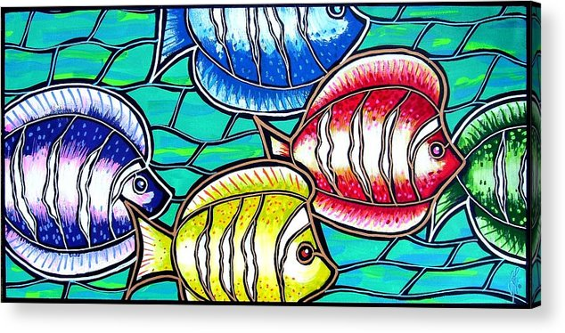 Fish Acrylic Print featuring the painting Tropical Fish Swim by Jim Harris