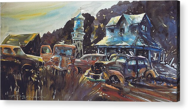 Old Cars Acrylic Print featuring the painting Water Tower Wardens by Ron Morrison