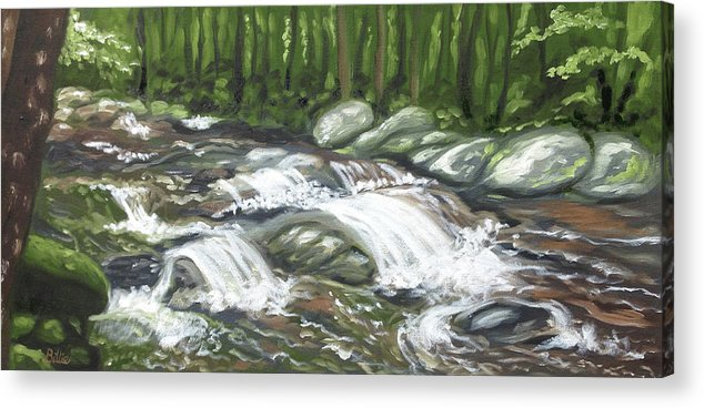 Oil Painting Acrylic Print featuring the painting Asheville Mountain Stream by Billie Mann