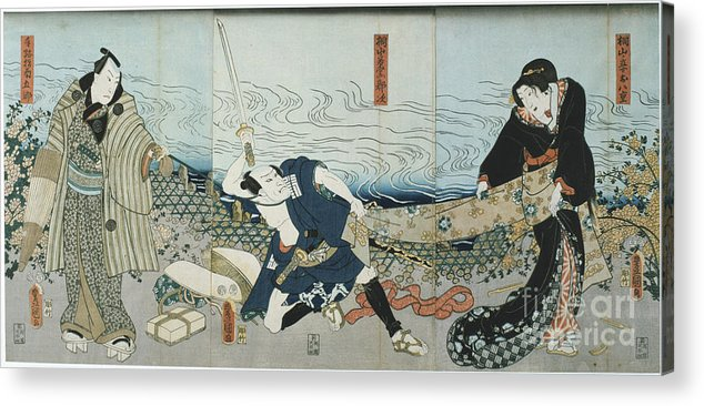 Material Acrylic Print featuring the drawing Theatre Scene, 1844. Artist Utagawa by Print Collector