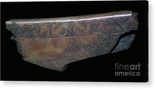 Panoramic Acrylic Print featuring the drawing Bone Viking Trewiddle-style Trial-piece by Print Collector