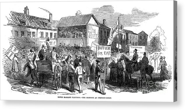 Engraving Acrylic Print featuring the drawing Election Hustings In Stepney Green by Print Collector